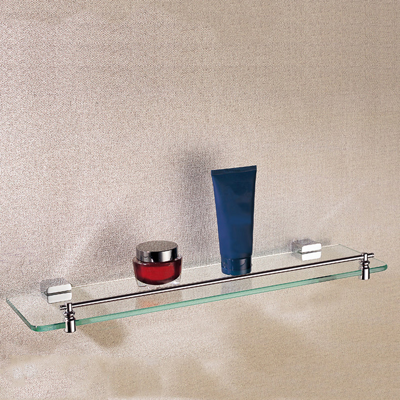 Rectangle Single Glass Shelf Brass Wall Mounted Luxury Modern Polished Chrome Shower Shampoo Bathroom Holder Bathroom Hardware free shipping high quality bathroom toilet paper holder wall mounted polished chrome