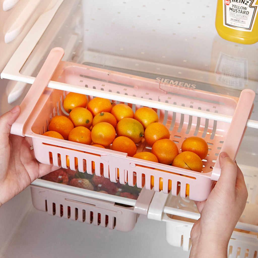 Organizer do kuchni regulowany kuchenny pojemnik do lodówki Rack lodówka z zamrażarką uchwyt półki wysuwana szuflada organizer do oszczędzenia miejsca