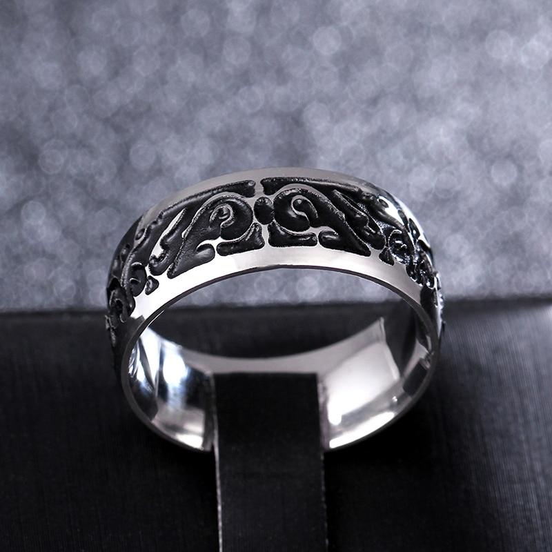여성을위한 티타늄 V65 빈티지 장식 패턴 링 스테인레스 스틸 반지 결혼 반지 파인 쥬얼리