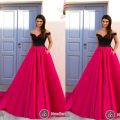 Vestidos de Fiesta Evening Gowns Court Train Sweetheart Neckline Beading Sequins Backless A Line Fuschia Evening Dresses 2017