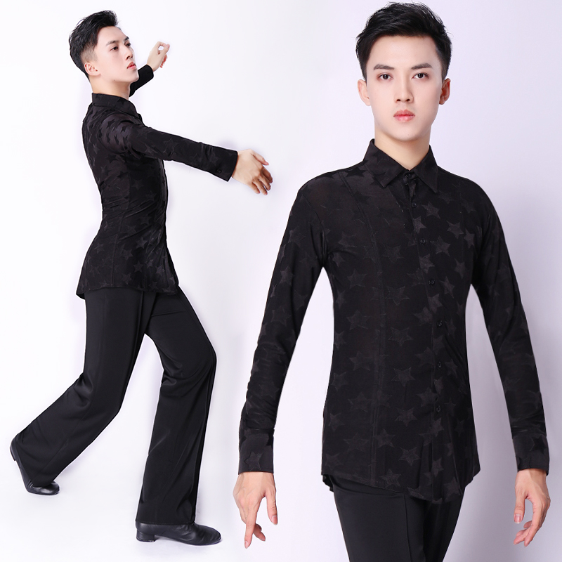 Latin Dance Top For Men Black Ballroom Tango Salsa Cha Cha Samba Rumba Practice Dance Wear Long Sleeves Dancing Shirt DC1886