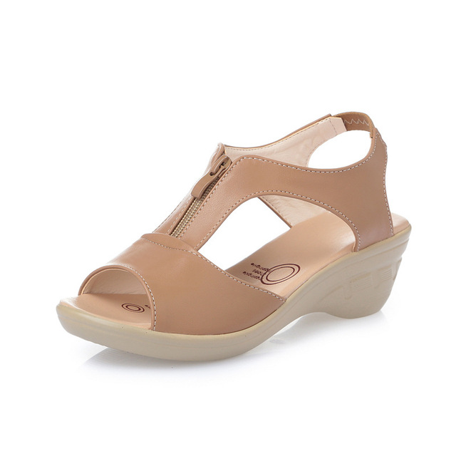 Size 3543 summer womens genuine leather sandals comfortable Wedges Open  toe Mom Shoes Cowhide