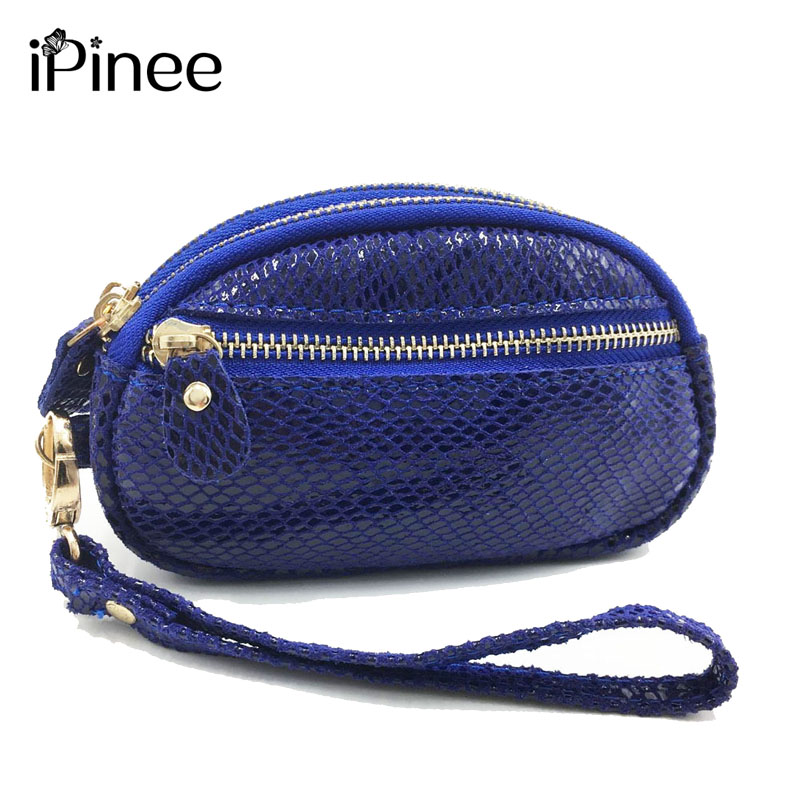 iPinee Women Genuine Leather Coin Purses Fashion Womens Snake skin Small Money Bags High Quality Evening Clutch Bag Ladies Wall