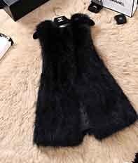Из натурального меха серебристой лисы, жилет природа Для женщин лисий мех жилет фабрика изготовленный на заказ большие размеры, куртка из искусственного меха, TFP872 - Цвет: Black