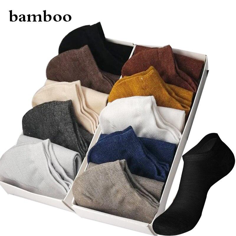 2019 New Brand Men's Bamboo Fiber   Socks   Male Summer Leisure Invisible Short   Socks   Colorful Man Dress Ankle Boat   Socks   For Gift
