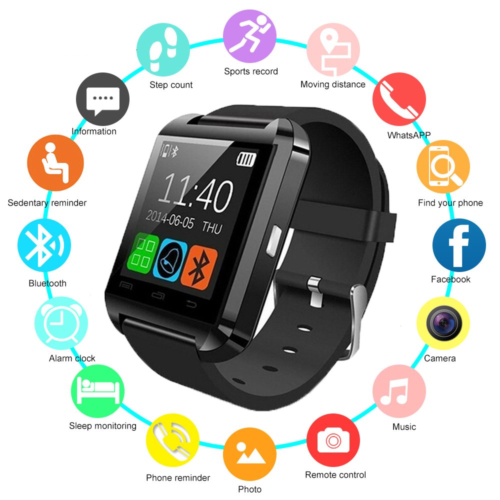 2019 neue U8 <font><b>Smart</b></font> Uhr Bluetooth Smartwatch U80 für <font><b>IPhone</b></font> <font><b>6</b></font>/5 S Samsung S6/Hinweis 4 HTC android Phone Smartphones Android image