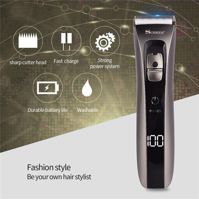 LCD affichage professionnel coupe-cheveux étanche électrique tondeuse à cheveux maison coupe de cheveux rasoir en alliage de titane coupe de lame avec peigne