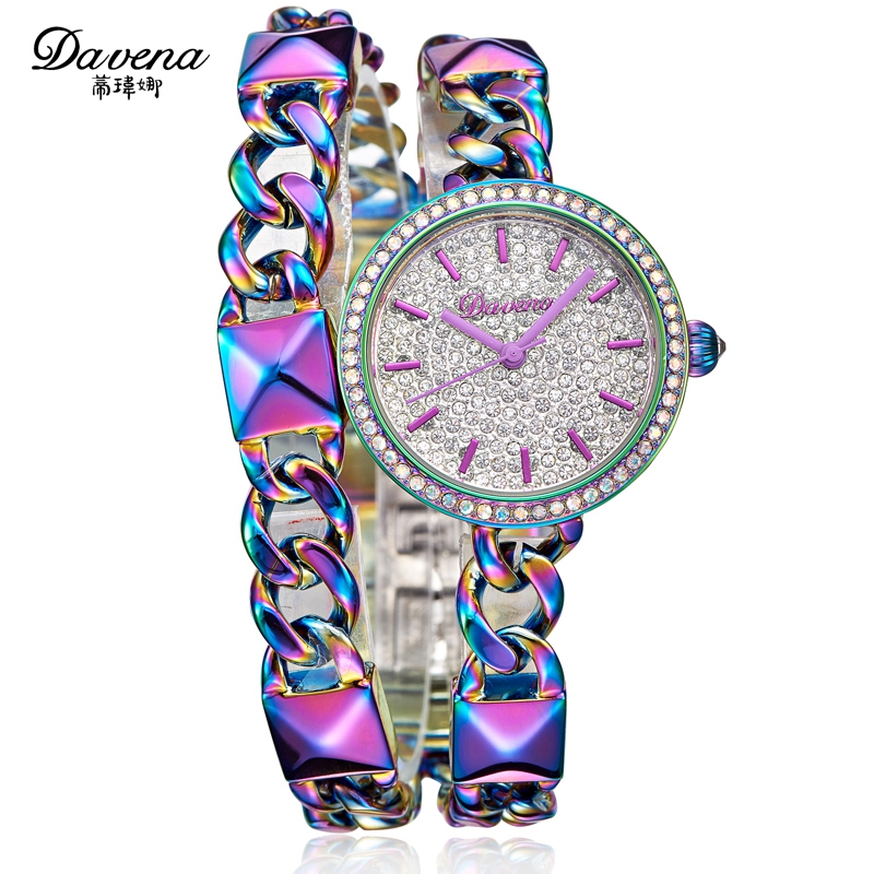women dress rhinestone watches Female braceket chain watch Fashion casual Japan quartz wristwatch Top brand Davena 60630 clock luxury top brand guanqin watches fashion women rhinestone vintage wristwatch lady leather quartz watch female dress clock hours
