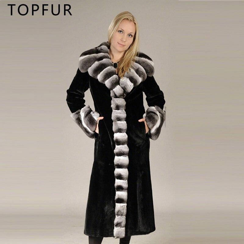 Fourrure Col De Grande Luxe Hiver Topfur Rex Couverture Les Femmes Naturel  Pour Jacke Noir Lapin ... 642aee6f9cc