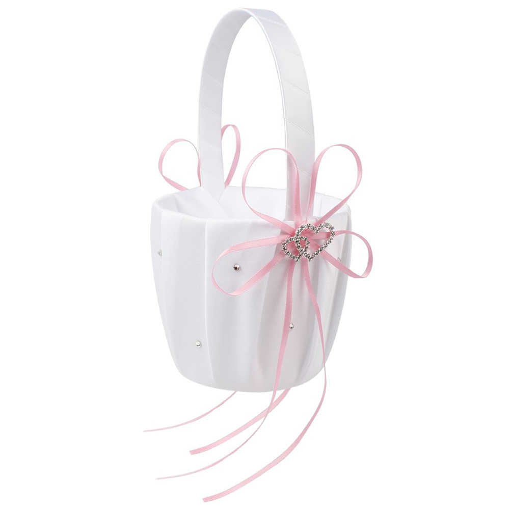Dubbele Hart Bruiloft Bloem Meisje Mand White Satin Rhinestone Decor Roze Wedding Party Favor