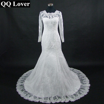 QQ Lover 2019 New Arrival Good Quality Lace Long Sleeve Mermaid Wedding Dresses See Through Back Bride Dresses