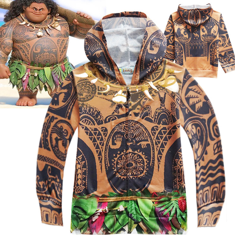 Kid Boy Maui Jacket Tattoo Pattern Autunm Thin Coat Daily Cardigan Mutlty-Color Hoodies Moana Cosplay Costumes Halloween Cos