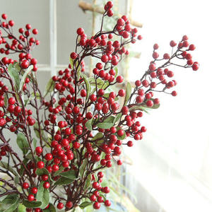 Image 3 - Artificial Flowers For Decoration Red Bird Berry Spray Stem Of Faux Berries Autumn/Christmas Fake Flowers Fall Decoration Home