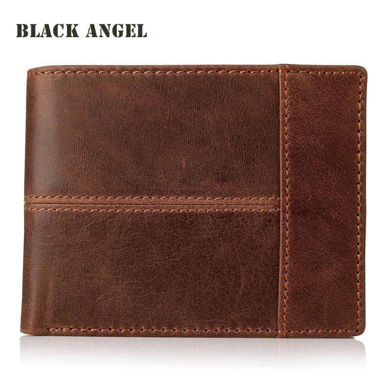 BLACK ANGEL Casual Men wallets Crazy Horse Genuine Leather Cowhide Men Short Bifold multi-function card holder wallet purse crazy horse leather billfolds wallet card holder leather card case for men 8056r 1