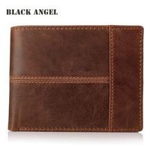 Hot Vintage Casual Men wallets Crazy Horse Genuine Leather Cowhide Men Short Bifold multi-function card holder wallet purse