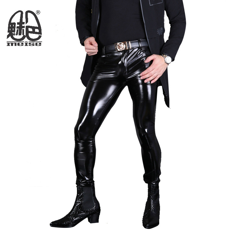 Aliexpress.com : Buy 2017 New Fashion PVC Skinny Faux Leather Pants for Men Sexy Wet Look Glossy ...