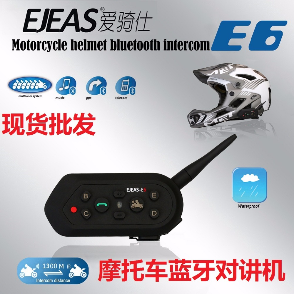 EJEAS 1300M 6 Riders Motorcycle Waterproof Wireless Helmet Headset Bluetooth Interphone Intercom 1 Pack
