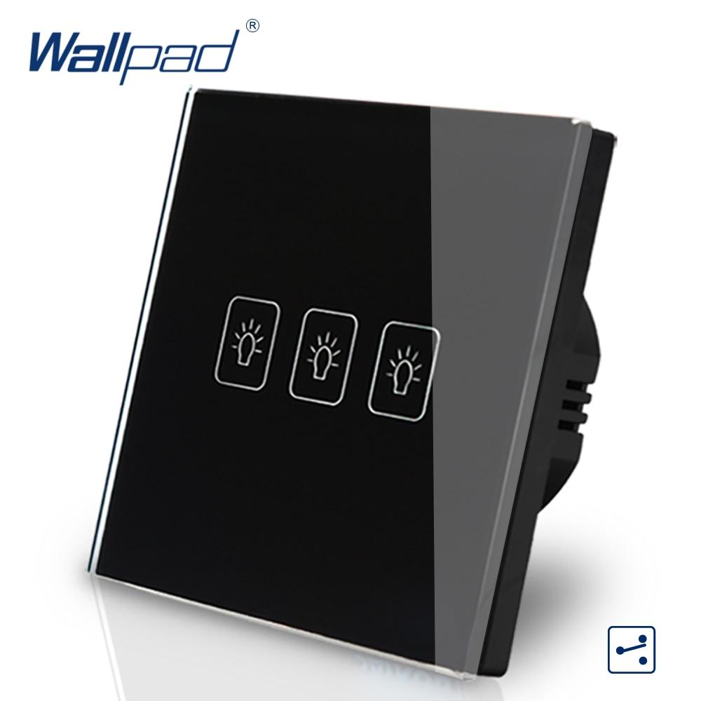 цена на 3 Gang 2 Way 3 Way Eu European Standard Switch 110V-240V Wallpad Black Crystal Glass LED Touch Wall Switch EU Free Shipping