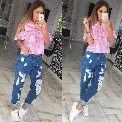 Trendy Summer Women Loose Ruffles Off the Shoulder Plaid Striped Blue Pink Shirts Top Casual Blouses Hot sale