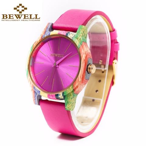 Moda de Bambu Pulseira de Couro Relógio para as Mulheres Bewell Mais Recente Colorido Relógio Melhor Presente Feminino 139a