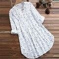 Plus size blusa de impressão floral mulheres verão v pescoço vestido de praia blusas solto nadar cover-up tops túnica blusas camisas femininas