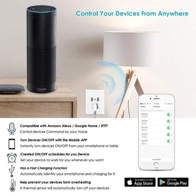 Enchufe WiFi de pared Compatible con Alexa, 2 puertos de carga USB, enchufe inteligente de 15A, Control de aplicación remota inteligente IFTTT 6