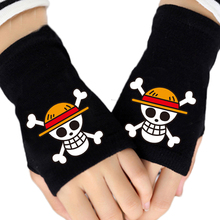 Fashion Winter Anime One Piece Luffy Cotton Glove Half Finger Couple Cartoon Printing Gloves Unisex Cosplay Gift