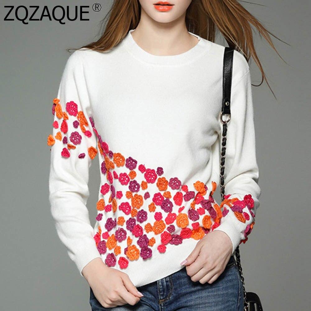 Dámské nové módní kontrastní barvy topy trojrozměrné malé květiny králičí vlasy svetry dámské značkové oblečení oděvy SY1243