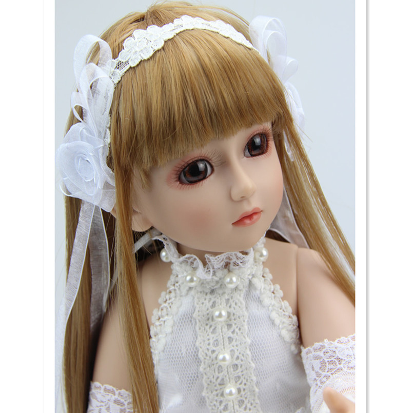 18 Inch Girls Dolls Handmade BJD Dolls for Girls Toy Gifts,45CM Plastic Doll with Princess Doll with White Dress and Shoes handmade ancient chinese dolls 1 6 bjd jointed doll empress zhao feiyan dolls girl toys birthday gifts