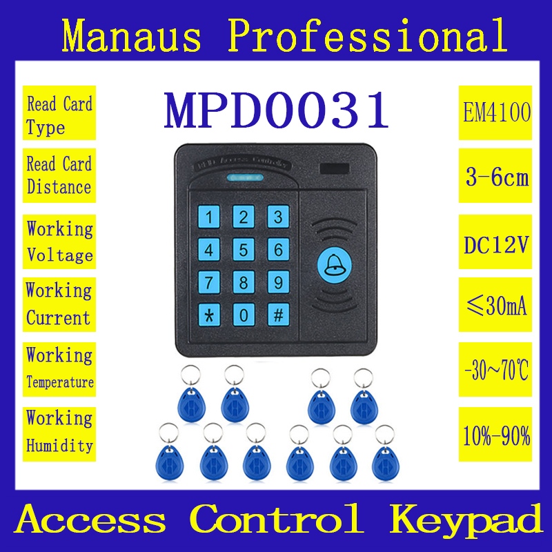 High Quality Door Access Control Controller ABS Case RFID Reader Keypad Remote Control 10 ID cards Magnetic Lock lpsecurity 10 tags or 10 cards 125khz gate door lock rfid keypad proximity reader access controller wg26 input for slave reader