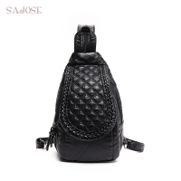 SAJOSE 2017 Multifunctional Leather Weaving Lozenge Backpack Women S Fashion Leisure Chest Shoulder Bag Women Black