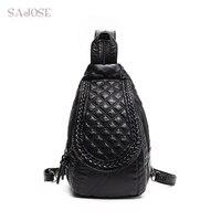 SAJOSE 2017 Multifunctional Leather Weaving Lozenge Backpack Women S Fashion Leisure Chest Shoulder Bag Women Black