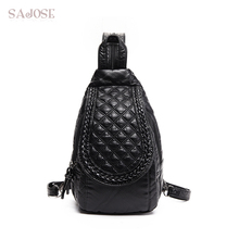Sajose 2017 Многофункциональный Кожа Ткачество ромб рюкзак женская Мода Досуг Груди Сумка женский, черный рюкзаки