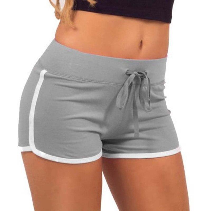 Women  Yo-Ga Drawstring Shorts Casual Loose Cotton Contrast BindingSide Split Elastic Waist  Short Pants VM