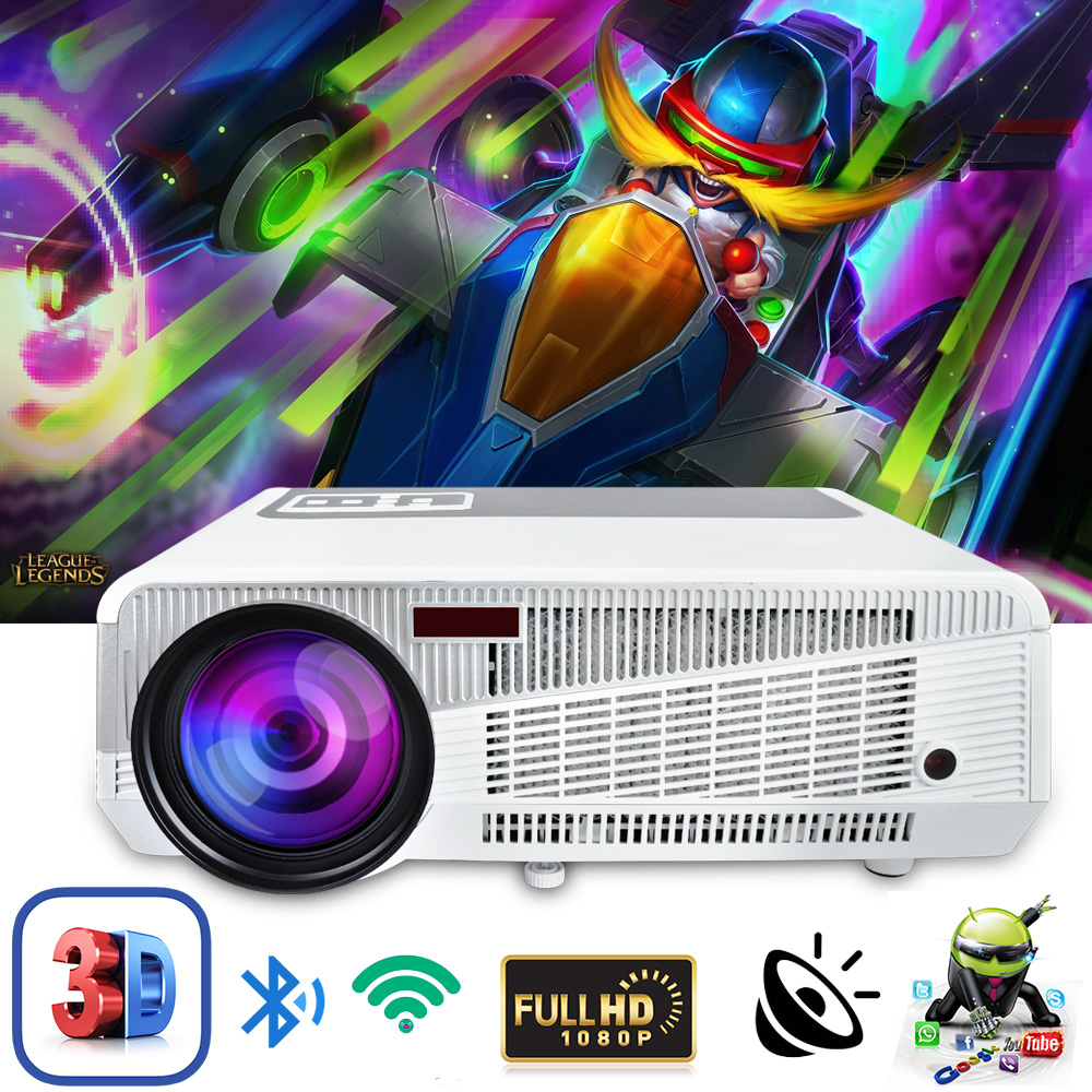 Poner Saund 5500Lumens WIFI 3D Home Theater 1280x800 PC Multimedia 1080P HD Video HDMI USB Portable LCD LED Projector proyector new h88 lcd led video micro multimedia projector home theater