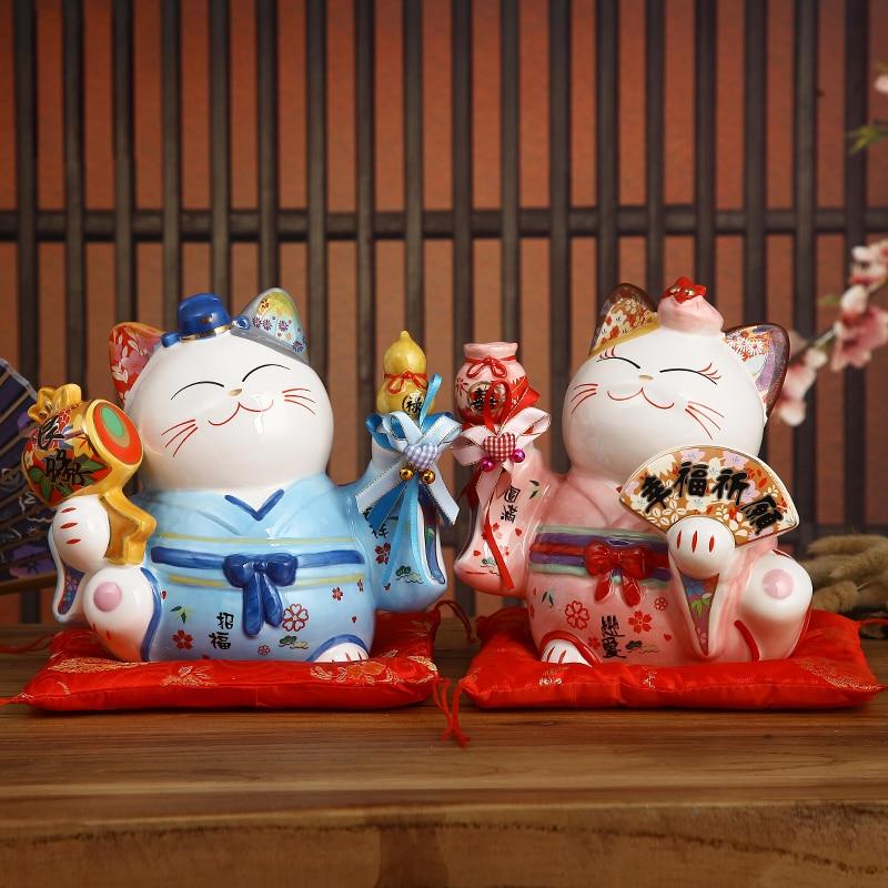 8 inch Ceramic Maneki Neko Ornament Lucky Cat Money Box Japanese Couple Fortune Cat Feng Shui