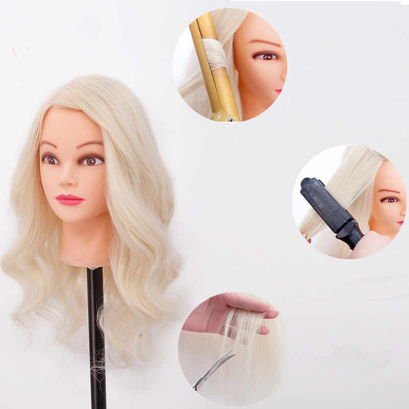 85% blonde human hair mannequin head Great Quality Hairdressing Head Mannequin For Sale Nice female dolls head Kappers pop