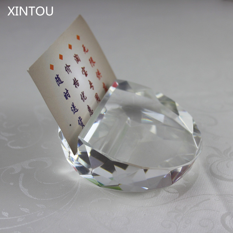 XINTOU Crystal Glass Faceted Card Holder Ball Paperweight Feng shui ...