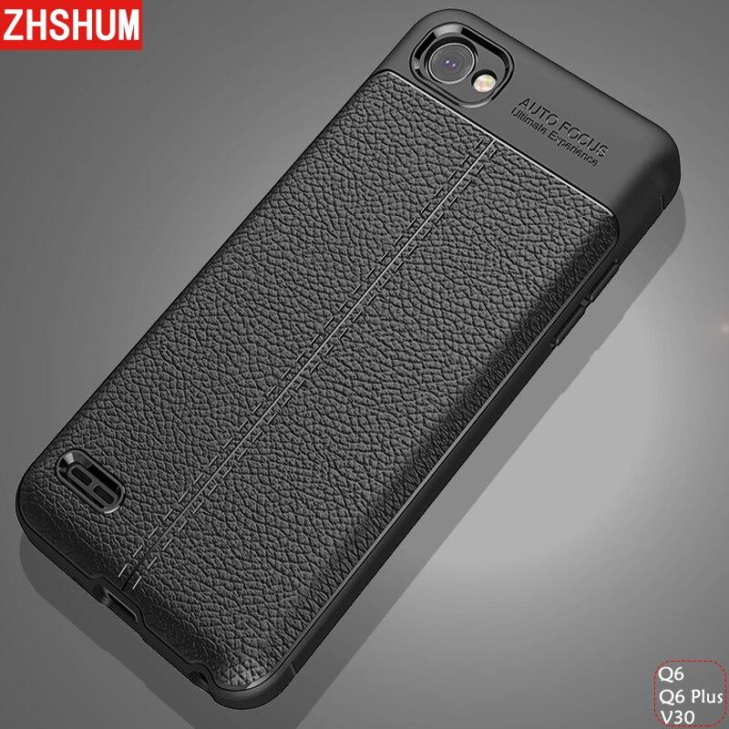 ZHSHUM étui de luxe pour LG Q6 Plus V30 pare-chocs souple Silicone Tpu à motifs Coque de téléphone 360 couverture arrière complète pour LG Q6Plus V 30 Coque