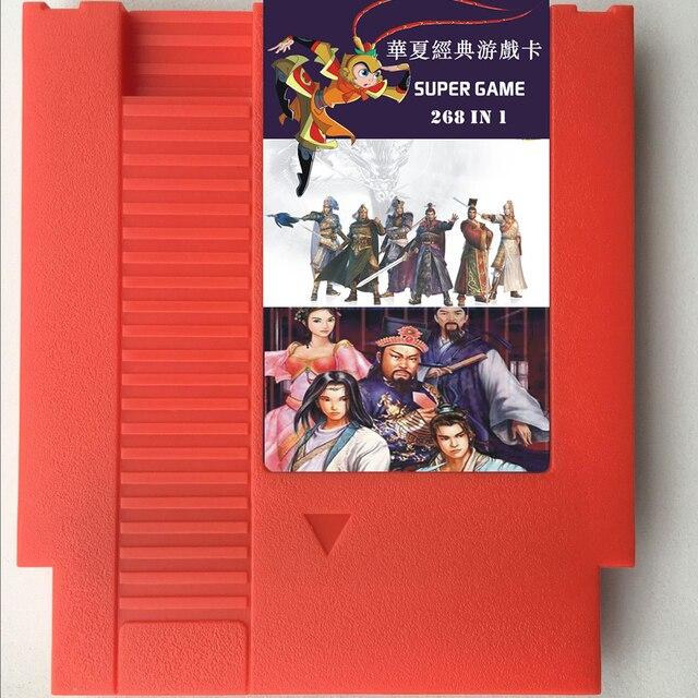 268 In 1 72 Pin Game Card Region Free for 8 bit Game console with Adventure Island 1/2/3/4,Qun Xiong Zhen Ba,Yu Yu Final, etc.