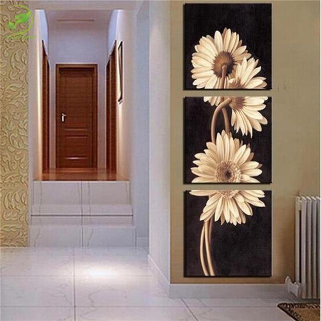 Modern Wall Art Decor aliexpress : buy 3 panels modern wall art paint flower home
