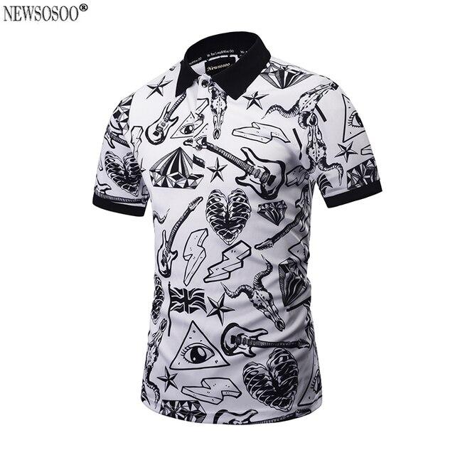 Newsosoo новый 2017 дизайн Polo Рубашка Мужчин slim fit мода печатных летний стиль Polo рубашка топы мужской M-3XL PT2