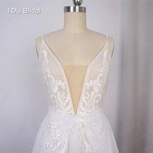 Image 3 - Boho ışık düğün elbisesi parlak sparkly tül plaj gelin kıyafeti yeni stil
