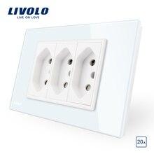 Livolo ブラジル/イタリア標準 3 ピン 20A 電源ソケット、ホワイト/黒ガラスパネルなしプラグ、 c9C3CBR2 11/12