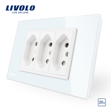Livolo ברזילאי/איטלקי סטנדרטי 3 סיכות 20A כוח שקע, לבן/שחור זכוכית פנל ללא תקע, c9C3CBR2 11/12