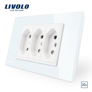 Image 1 - Livolo Brasiliano/Italiano Standard 3 Spilli 20A Presa di alimentazione, Bianco/Nero pannello di Vetro Senza Spina, c9C3CBR2 11/12
