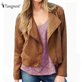 TANGNEST Women British Style Jackets 2016 Autumn Fashion Brief Slim Tassel Zipper Turn-Down Collar Basic Jacket WWJ754