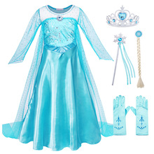 AmzBarley Girls Elsa costume Silk Lace Long sleeves Snow Queen dress Halloween Party Cosplay outfits Birthday clothing set