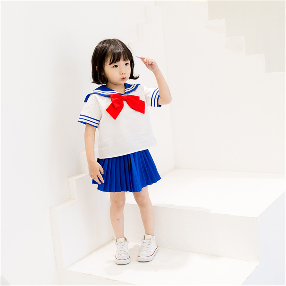 Cute Anime Kid Baby Girls Sailor Moon Cosplay Costumes Bowknot Dress Kawaii Lolita Sailor Uniform kids Sailor suit