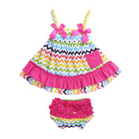 Baby Girl Sling Bat Dress Newborns Baby Girl Clothes Cute Soft Cotton Baby Clothing Sets Skirt